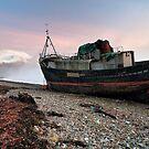 Loch Linnhe Misty Boat Sunset by Grant Glendinning