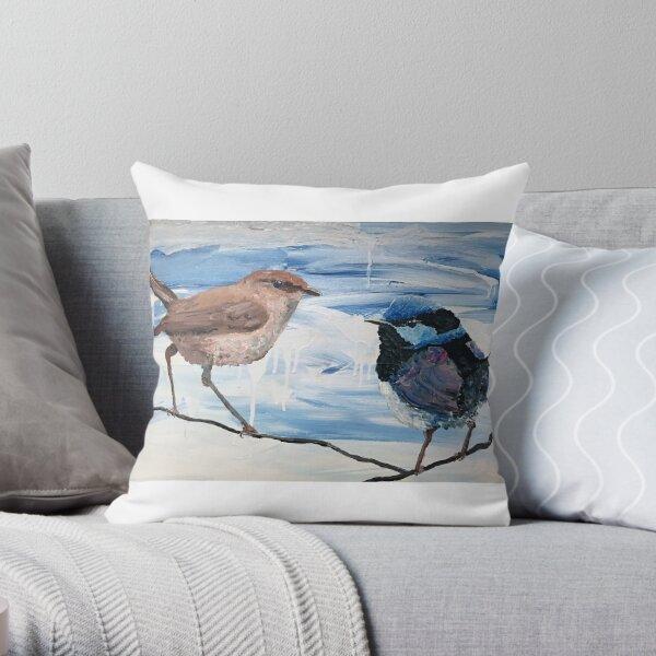 Wren and Husband Throw Pillow
