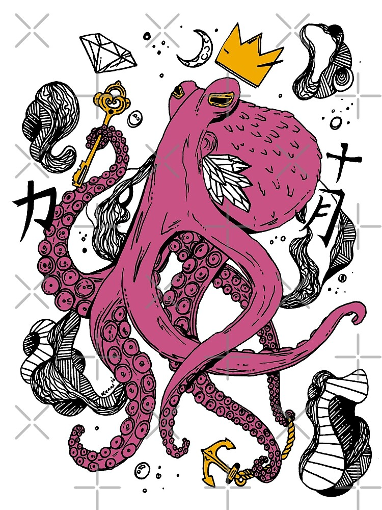 Royal Octopus Pink and Gold by kenallouis