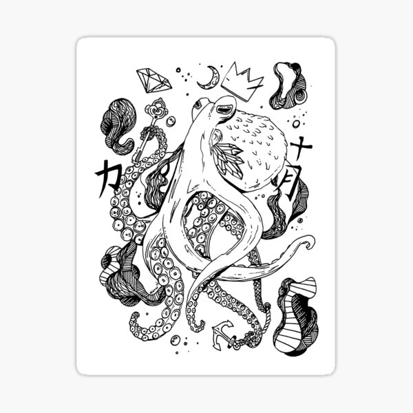 Royal Octopus Black and white Sticker
