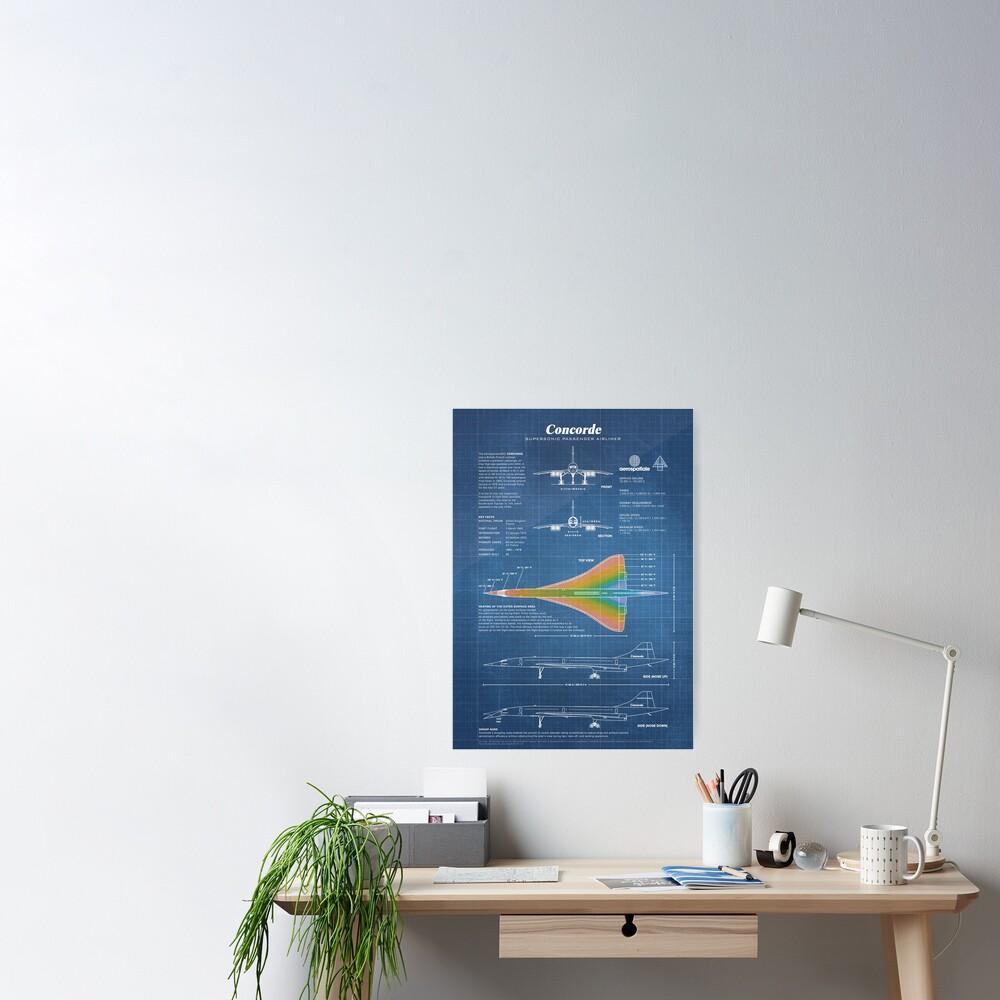 Concorde Supersonic Airliner Blueprint (light blue) Poster