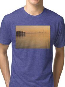 Soft Gold - Toronto Skyline In Velvety Morning Mist Tri-blend T-Shirt