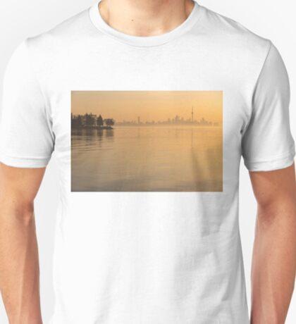 Soft Gold - Toronto Skyline In Velvety Morning Mist T-Shirt