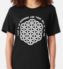 Sacred Geometry: Flower Of Life - Existance Quote Variation Slim Fit T-Shirt