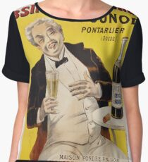 Unknown - Absinthe Superieure Beverage Poster. Man portrait: alcoholic, drinker, drunkard, wino,  fun,  hangover, humor, bottle, glass,  joy, meeting Women's Chiffon Top