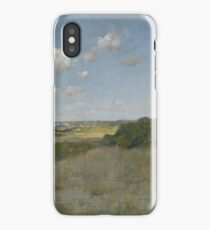 William Merritt Chase - Sunlight And Shadow, Shinnecock Hills. Field landscape: field landscape, nature, village, garden, flowers, trees, sun, rustic, countryside, sky and clouds, summer iPhone Case/Skin
