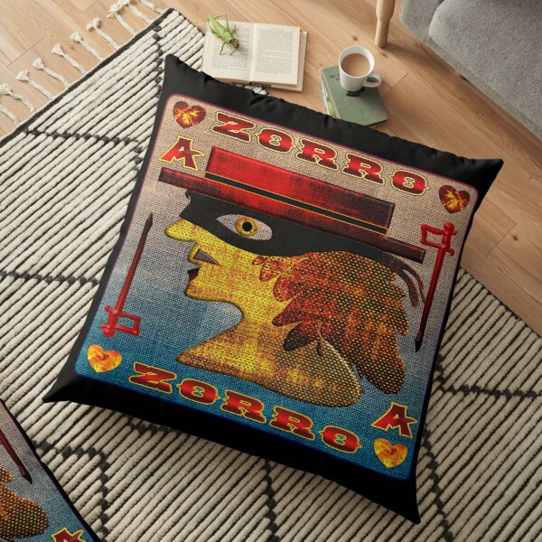 THE LEGEND OF ZORRO - ZORRO ACE OF HEARTS CARD - ZORRO GAMER CARD - GAMER CARD - HALLOWEEN PARTY - CHRISTMAS PARTY. Floor Pillow