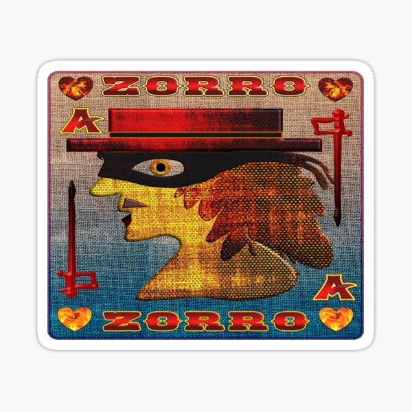 THE LEGEND OF ZORRO - ZORRO ACE OF HEARTS CARD - ZORRO GAMER CARD - GAMER CARD - HALLOWEEN PARTY - CHRISTMAS PARTY. Sticker