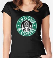 I Love GUNS AND COFFEE Shirt Funny Gun T-Shirt Women's Fitted Scoop T-Shirt