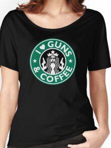 I Love GUNS AND COFFEE Shirt Funny Gun T-Shirt Women's Relaxed Fit T-Shirt