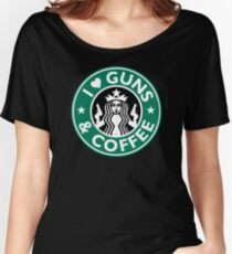 I Love GUNS AND COFFEE Shirt Funny Gun T-Shirt Women's Relaxed Fit T-Shirt