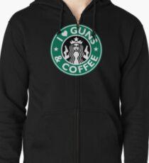 I Love GUNS AND COFFEE Shirt Funny Gun T-Shirt Zipped Hoodie