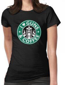 I Love GUNS AND COFFEE Shirt Funny Gun T-Shirt Womens Fitted T-Shirt