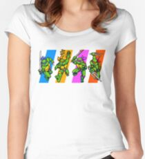 TMNT Turtles in Time Characters Women's Fitted Scoop T-Shirt