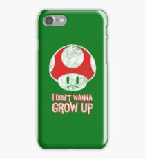 Distressed Mario Mushroom - I Don't Want to Grow Up (Sad Face) iPhone Case/Skin