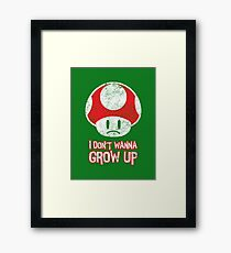 Distressed Mario Mushroom - I Don't Want to Grow Up (Sad Face) Framed Print