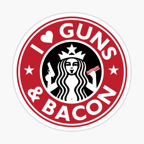 I Love GUNS AND BACON Shirt Funny Gun T-Shirt Sticker