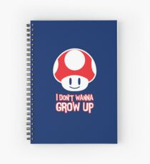 Mario Mushroom - I Don't Want to Grow Up (Happy Face) Spiral Notebook