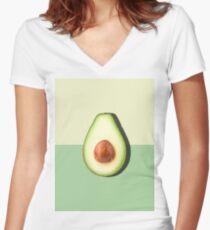 Avocado Half Slice Tropical Fruit Women's Fitted V-Neck T-Shirt
