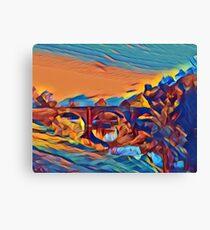 Dinham Bridge in Abstract Crayon Canvas Print