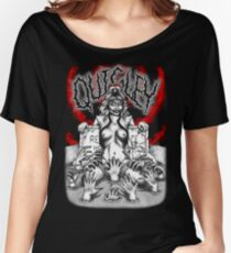 Say You Love Satan 80s Horror Podcast - Linnea Quigley - Night of the Demons - Return of the Living Dead Women's Relaxed Fit T-Shirt