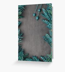 Frame of leaves of green glitter sparkles Greeting Card
