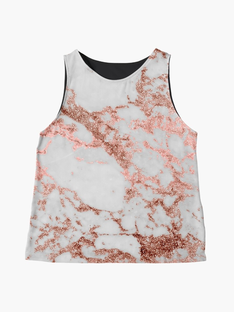 Alternate view of Stylish white marble rose gold glitter texture image Sleeveless Top