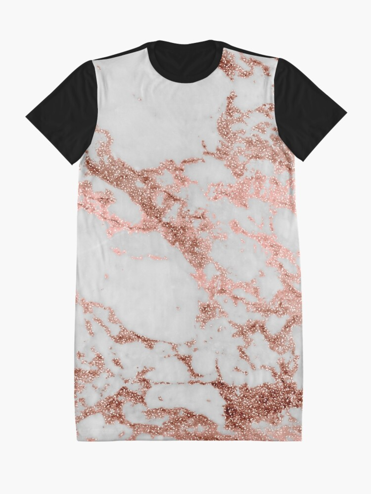 Alternate view of Stylish white marble rose gold glitter texture image Graphic T-Shirt Dress
