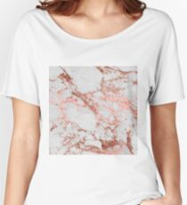 Stylish white marble rose gold glitter texture image Women's Relaxed Fit T-Shirt