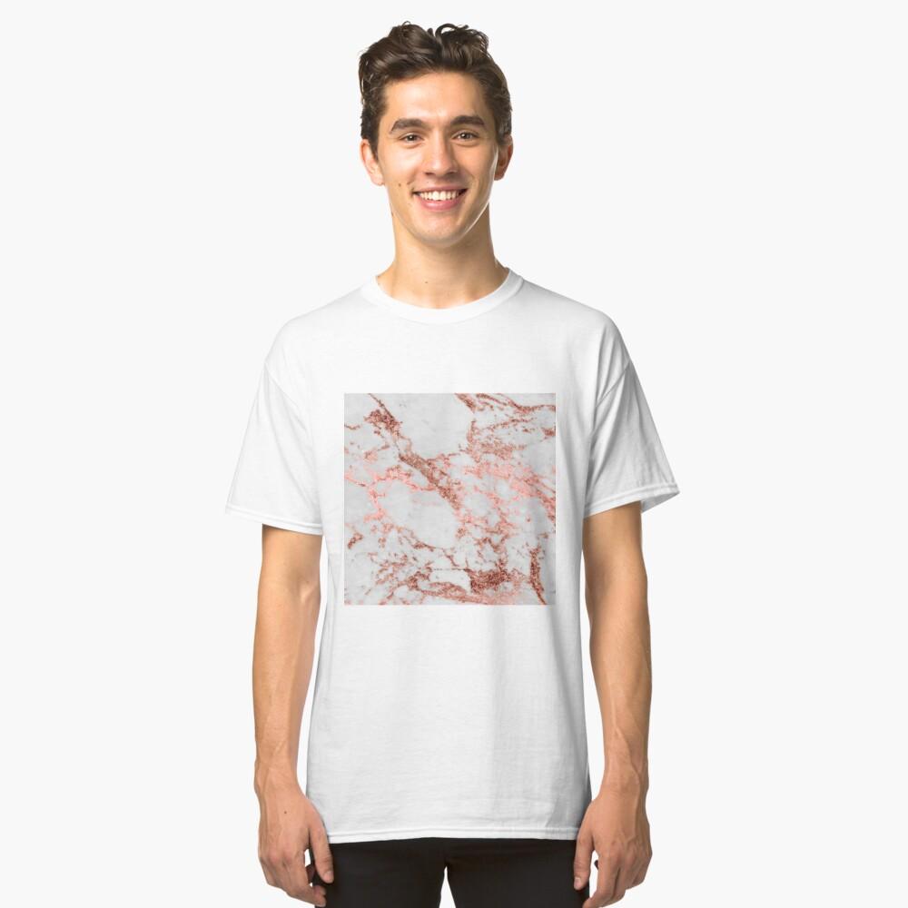 Stylish white marble rose gold glitter texture image Classic T-Shirt