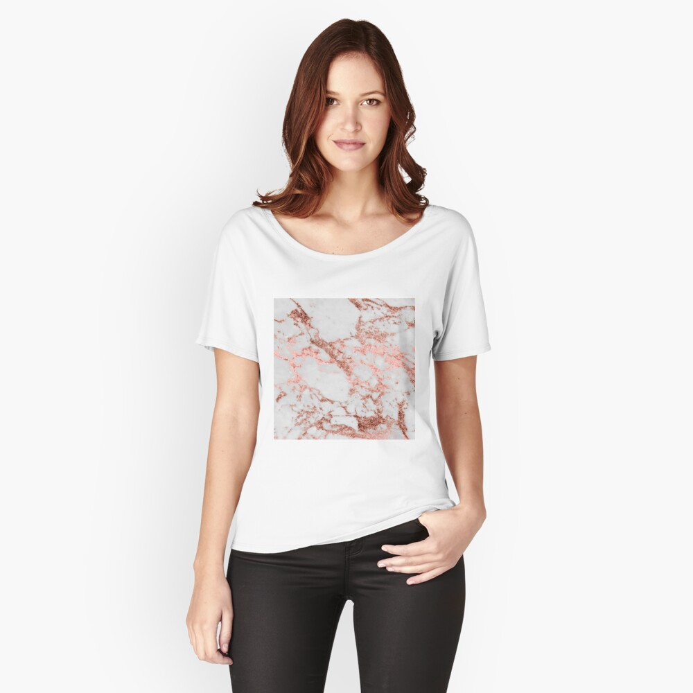 Stylish white marble rose gold glitter texture image Relaxed Fit T-Shirt