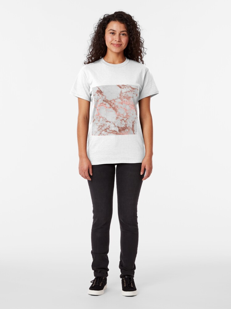 Alternate view of Stylish white marble rose gold glitter texture image Classic T-Shirt