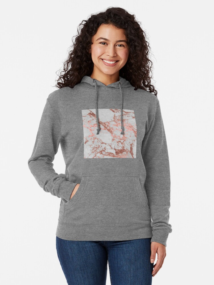 Alternate view of Stylish white marble rose gold glitter texture image Lightweight Hoodie