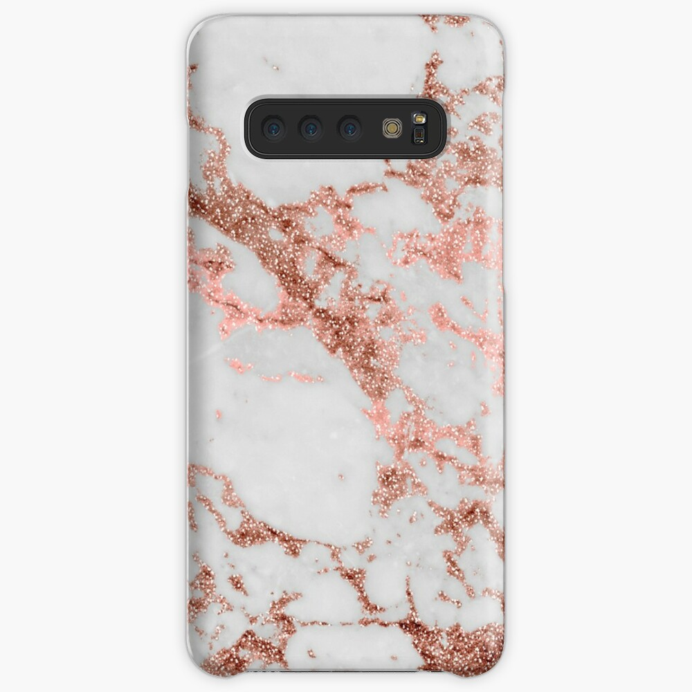 Stylish white marble rose gold glitter texture image Case & Skin for Samsung Galaxy