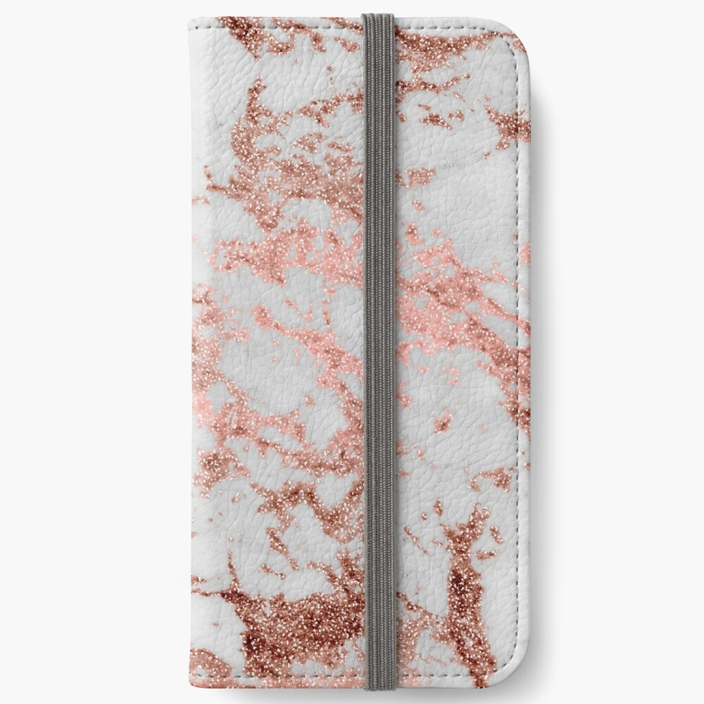 Stylish white marble rose gold glitter texture image iPhone Wallet