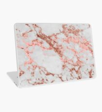 Stylish white marble rose gold glitter texture image Laptop Skin