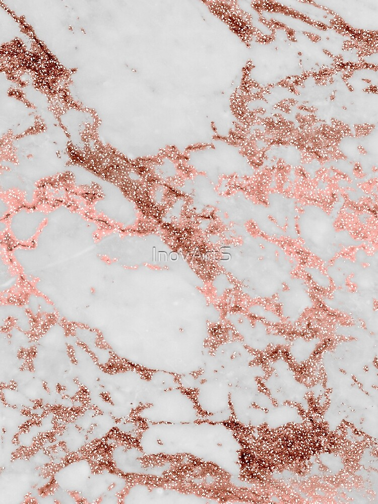 Stylish white marble rose gold glitter texture image by InovArtS
