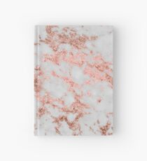 Stylish white marble rose gold glitter texture image Hardcover Journal