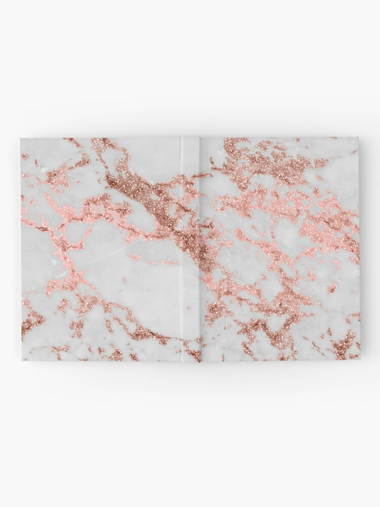 Alternate view of Stylish white marble rose gold glitter texture image Hardcover Journal