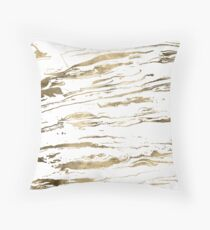 Gold abstract marbleized paint Throw Pillow