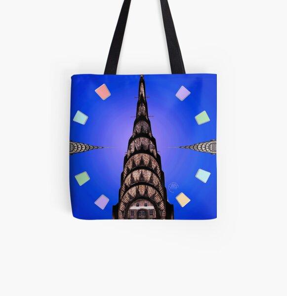Chrysler Building on Blue All Over Print Tote Bag