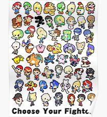 Super Smash Bros. Alle 58 Charaktere! Wähle Deinen Kämpfer !! Poster