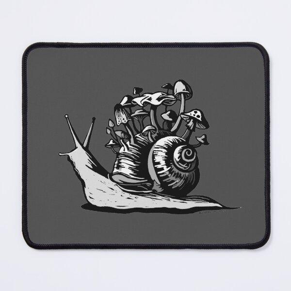 Mushroom Snail Linocut Graphic Mouse Pad