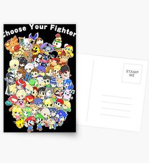 Super Smash Bros. All 58 Characters! Choose Your Fighter! Group Postcards