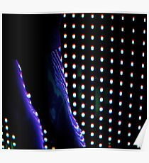 Futuristic shop dummy mannequin at night in led light effect analogue film photograph Poster