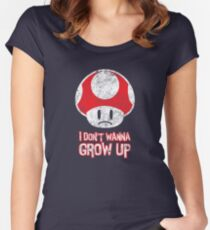 Distressed Mario Mushroom - I Don't Want to Grow Up (Sad Face) Women's Fitted Scoop T-Shirt
