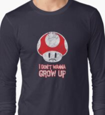 Distressed Mario Mushroom - I Don't Want to Grow Up (Sad Face) Long Sleeve T-Shirt