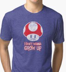Distressed Mario Mushroom - I Don't Want to Grow Up (Sad Face) Tri-blend T-Shirt