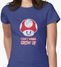 Distressed Mario Mushroom - I Don't Want to Grow Up (Sad Face) Women's Fitted T-Shirt