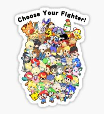 Super Smash Bros. All 58 Characters! Choose Your Fighter!! Group Sticker